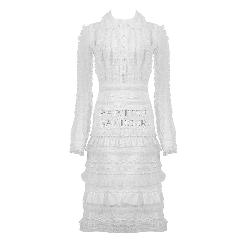 Ruches Casual De Longues Wear Mode Collar Celebrity Blanc Nouvelle Robe Embelli Midi Cascade Dentelle Manches 2019 down Party En Arrivée La À Turn 1JuK35TFlc