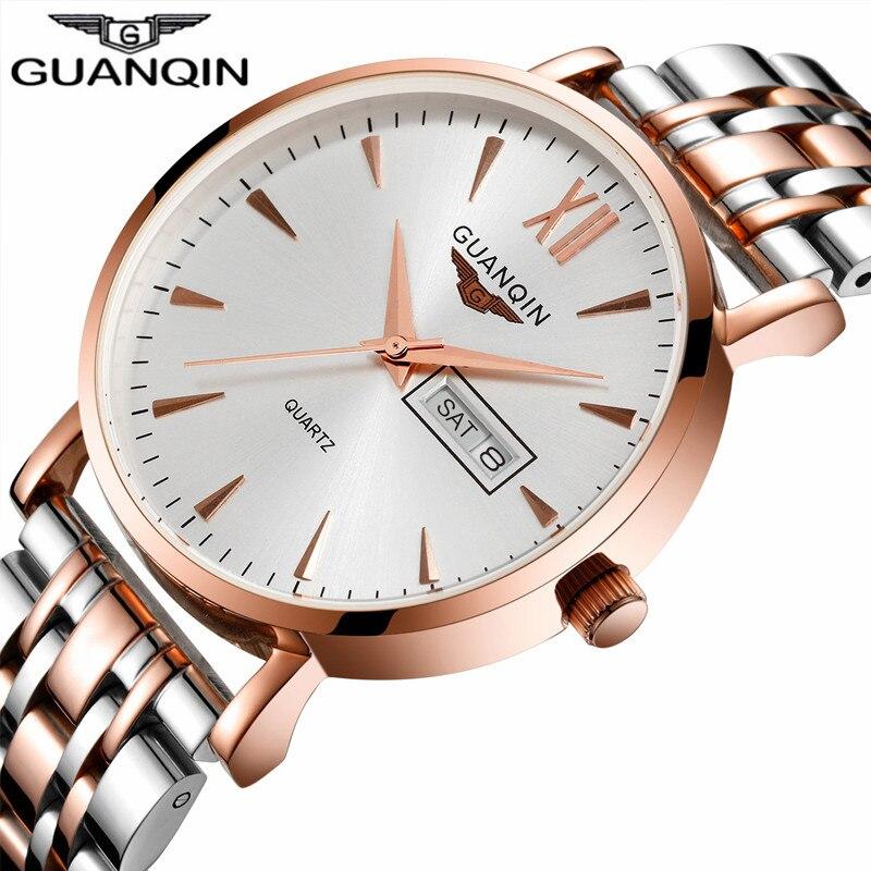 ФОТО Top Brand Luxury GUANQIN Quartz Watch Calendar Stainless Steel Strap Men Watches  Fashion Wristwatches relogio masculino