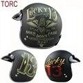 TORC brand Vintage helm Capacete casco de motocross casco de moto de la motocicleta Casco jet open face retro scooter casco DOT T50