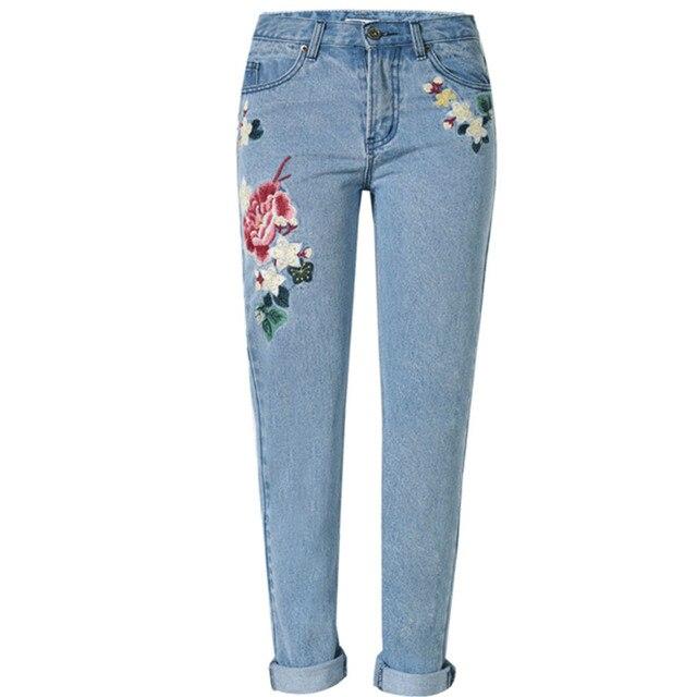2017 Осень Зима Женщины тяжелая цветочная вышивка изношенные джинсы Плюс Размер
