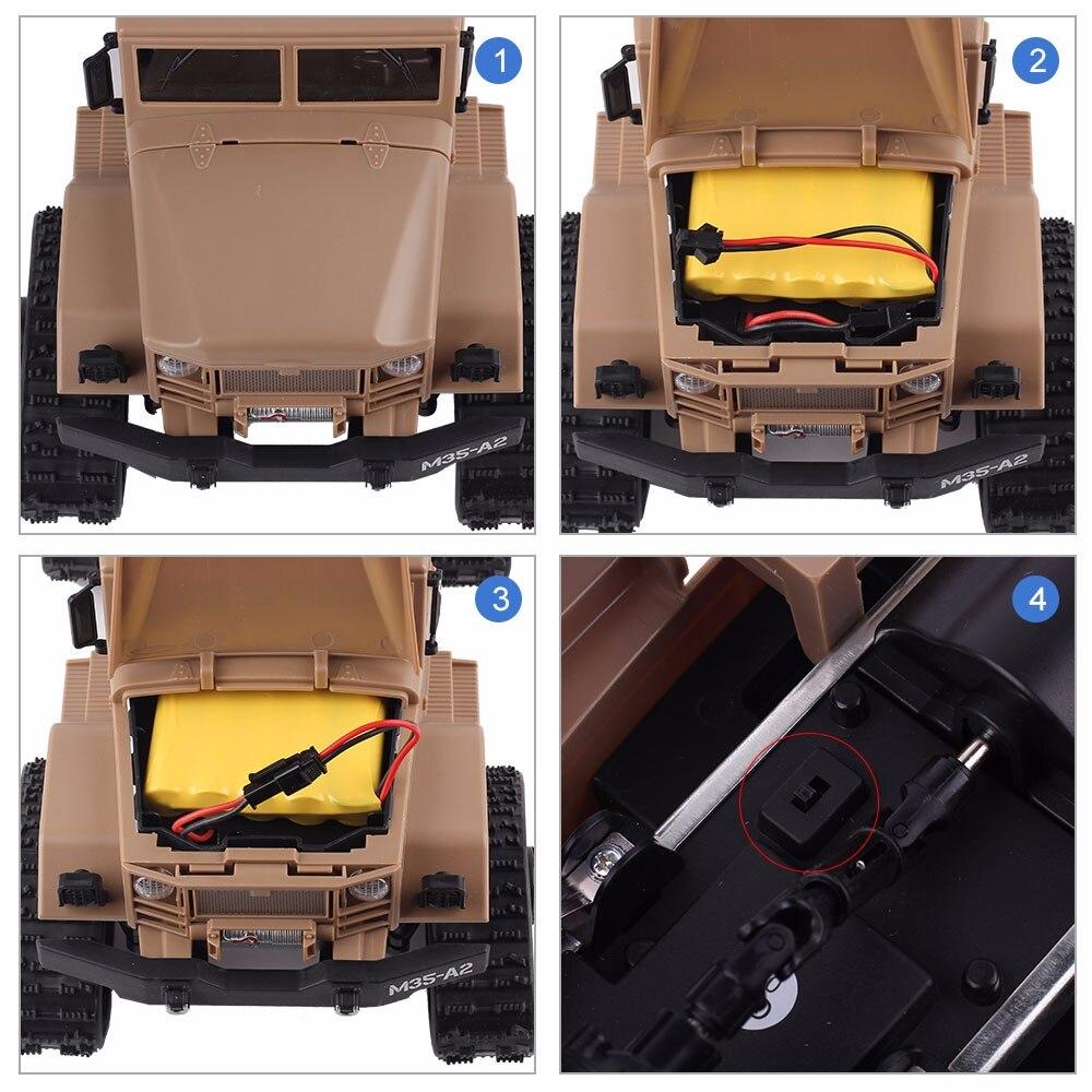 2.4G pilot zdalnego sterowania wspinaczka Model samochodu dla dzieci RTR 1/16 pilot wojskowy ciężarówka 4 koła jazdy Off Road RC Model chłopiec prezent zabawka w Samochody RC od Zabawki i hobby na  Grupa 3