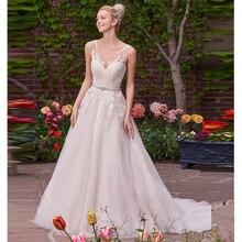 Verngo 2019 Romantic Ballgown Wedding Dress Lace Appliques Wedding Gowns Sleeveless  Princess Bride Dress Vestidos De Noiva