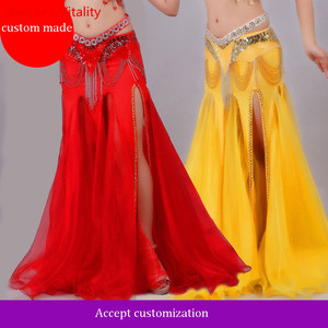 Image 2 - For Women Snow Yarn Skirt For Dance Tribal Ats Costumes For Belly Dancing Competition Long Skirts For Women Free Shipping