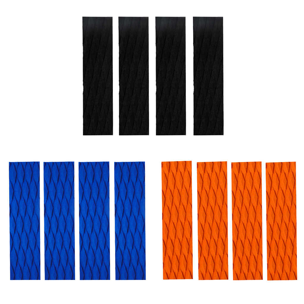 4 Buah Ultralight EVA Berlian Alur Papan Selancar Skimboard Traction Pad Ekor Bantalan Surf Deck Bar Grip-Hitam/Orange /Biru