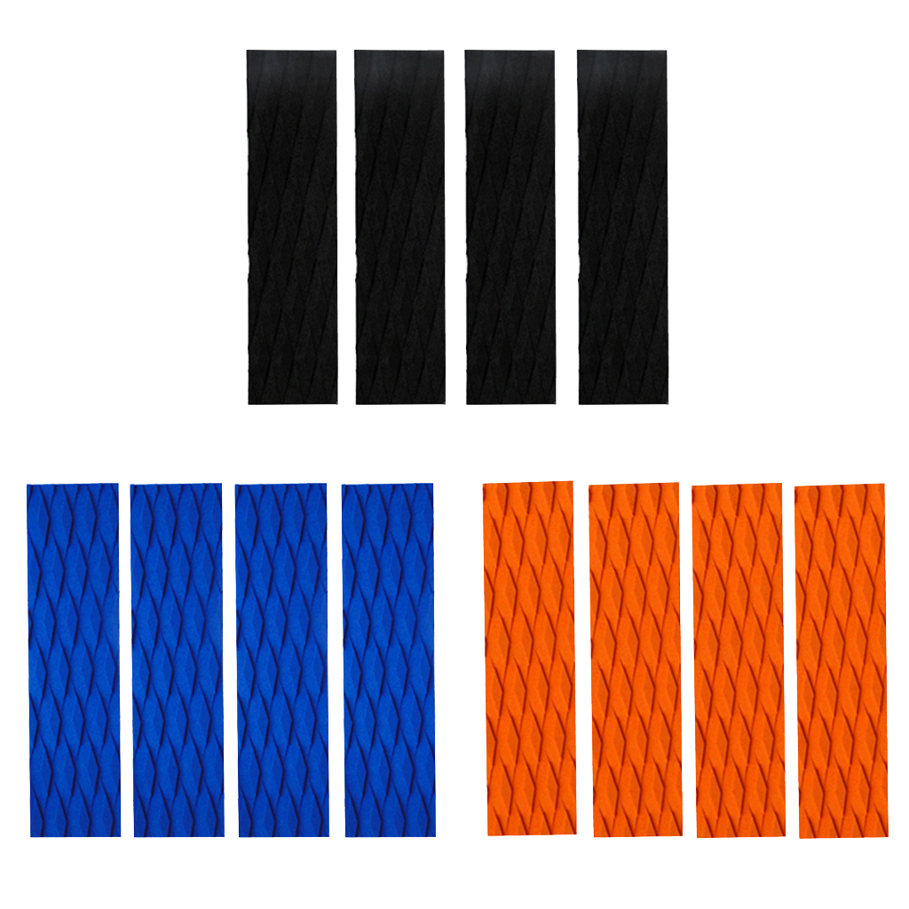 4 Pieces Ultralight EVA Diamond Groove Surfboard Skimboard Traction Pad Tail Pads Surf Deck Bar Grips - Black / Orange / Blue