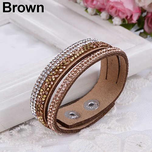 Bluelans модное с кристаллами, стразами браслет из искусственной кожи браслет для женщин ювелирные изделия подарок