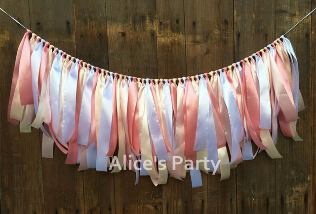 New Champagne Pink White Banner Baby High Chair Bunting First 1st Birthday Wedding Party Decoration Nursery Garland Photo Props In Banners Streamers