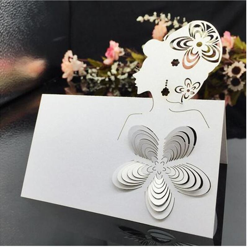 100pcs/lot Cut-out skeleton Elegant Woman Wedding Birthday Party Table Name Wine Food Guest Seats Place Cards Favor Decoration