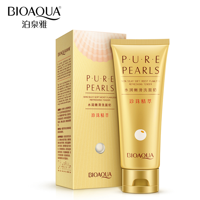 BIOAQUA Brand Skin Care Pure Pearl Facial Cleanser Extract Face Cleansing Rich