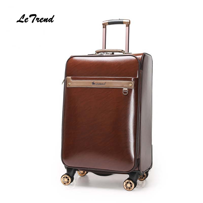 Letrend Women Leather Rolling Luggage Spinner Business Wheels Suitcases Men 16/20/24 inch Trolley Korean Trunk Cabin Travel Bag letrend 3d colorful rolling luggage spinner women rose gold suitcases wheels cabin trolley travel bag 20 24 inch carry on trunk