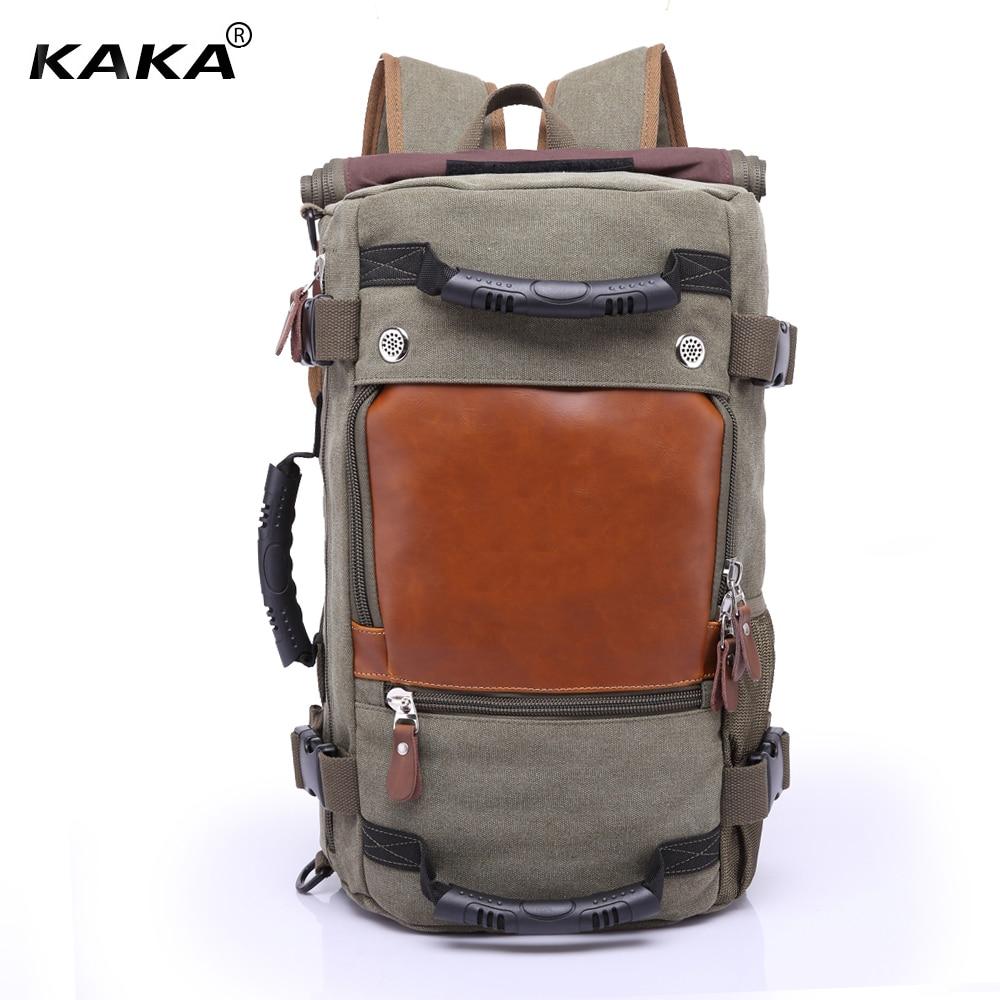 KAKA marque Desinger hommes voyage sacs à dos homme bagages sac à bandoulière ordinateur portable Vintage sac à dos fonctionnel polyvalent noir fourre-tout