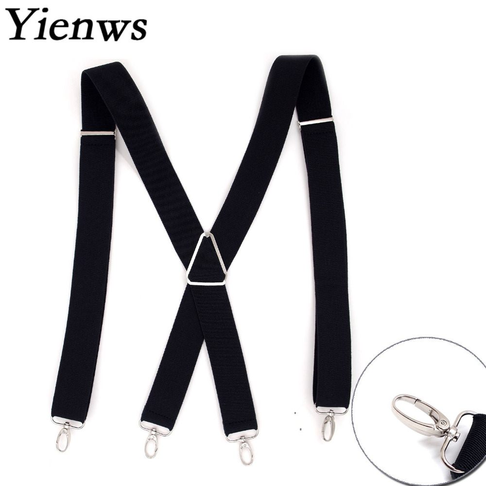 Yienws Black Suspender For Men X Back Pants Brace For Adult 3.5CM Wide Strap Bretels Suspensorio Masculino Sus17