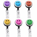 2PCS MIX Handmade Rhienstone Cute Smile Face Style Retractable Reel Recoil ID Badge Lanyard Name Tag Key Card Holder Belt Clip