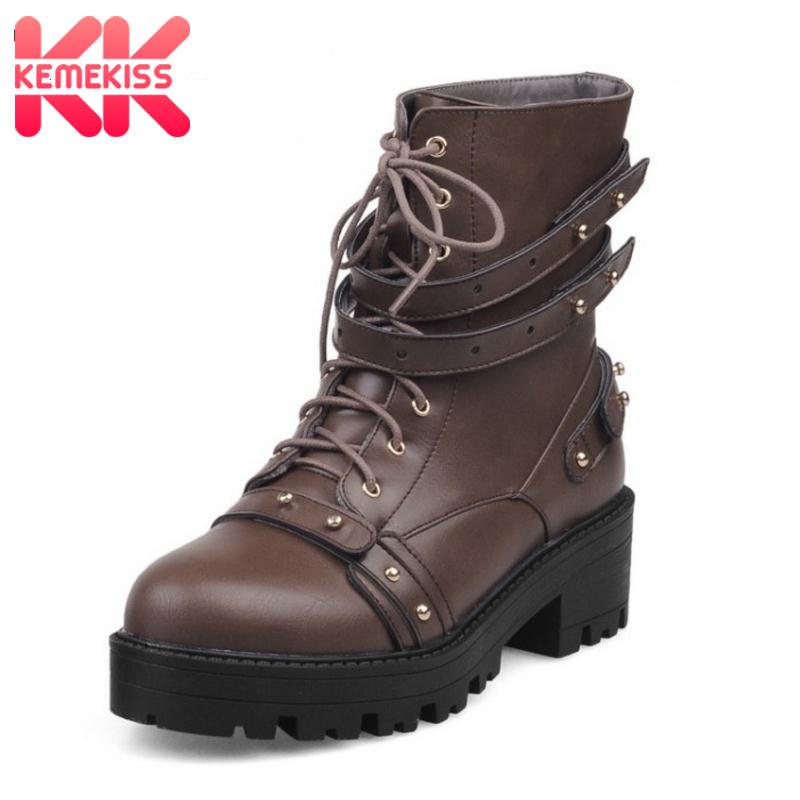 KemeKiss Size 33-47 Women Mid Calf Platform Boots Rivet Short High Heel Boots Warm Fur Shoes For Winter Botas Woman Footwears цена