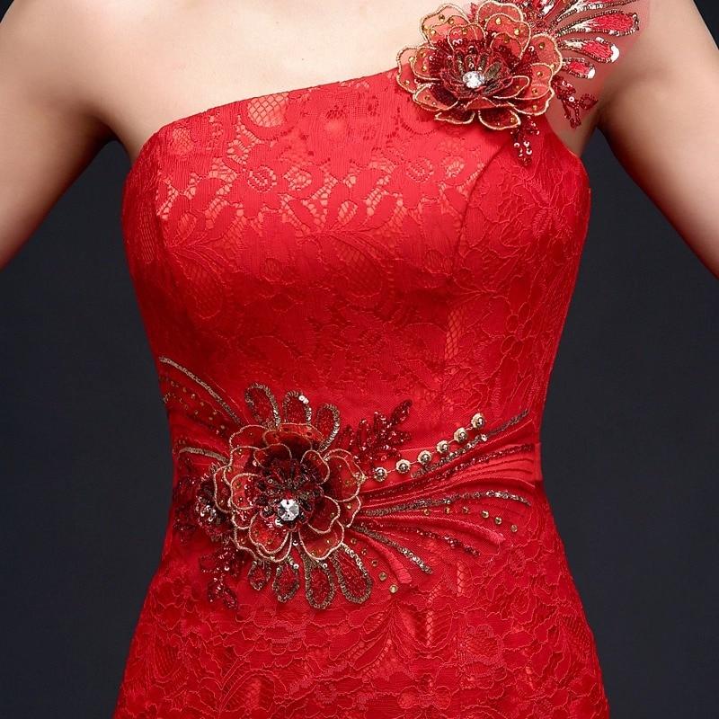 Kinesiske røde kvinner cheongsam kjoler slash stroppeløs havfrue - Nasjonale klær - Bilde 6