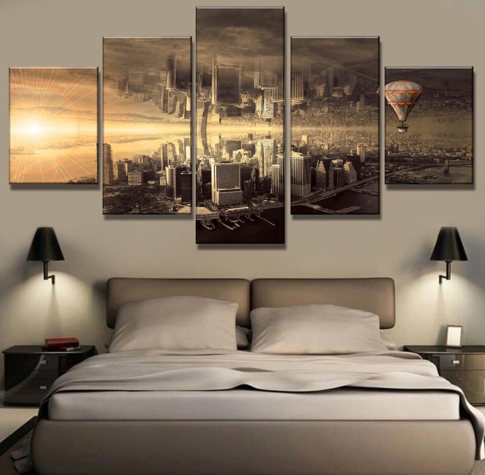 5 Piece Canvas Art Mirrored Hot Air Balloon City Cuadros