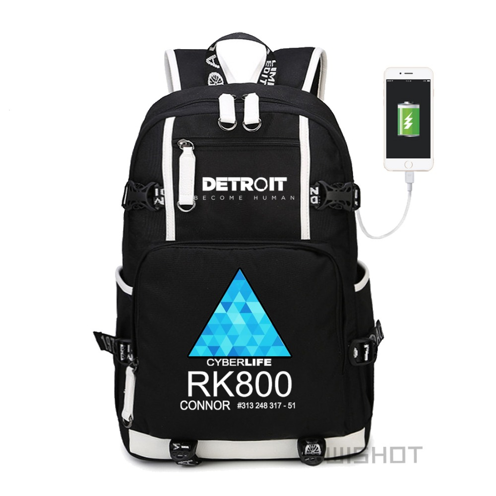 69eb593ad4ee US $33.89 |WISHOT detroit become human Backpack rk800 bag Shoulder travel  School Bag for teenagers Casual USB Charging Laptop bag-in Backpacks from  ...