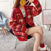 Knitted Christmas Sweater Women Fashion 2018 Loose Cardigan Warm V neck Coat Oversize Christmas Jumper Sweater Female Clothing