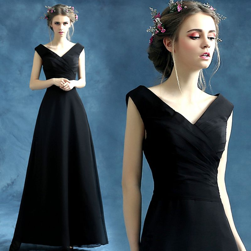 100% stvarne slike Jeftini duge malo crne haljine Večer V-izrez - Haljina za posebne prigode - Foto 4