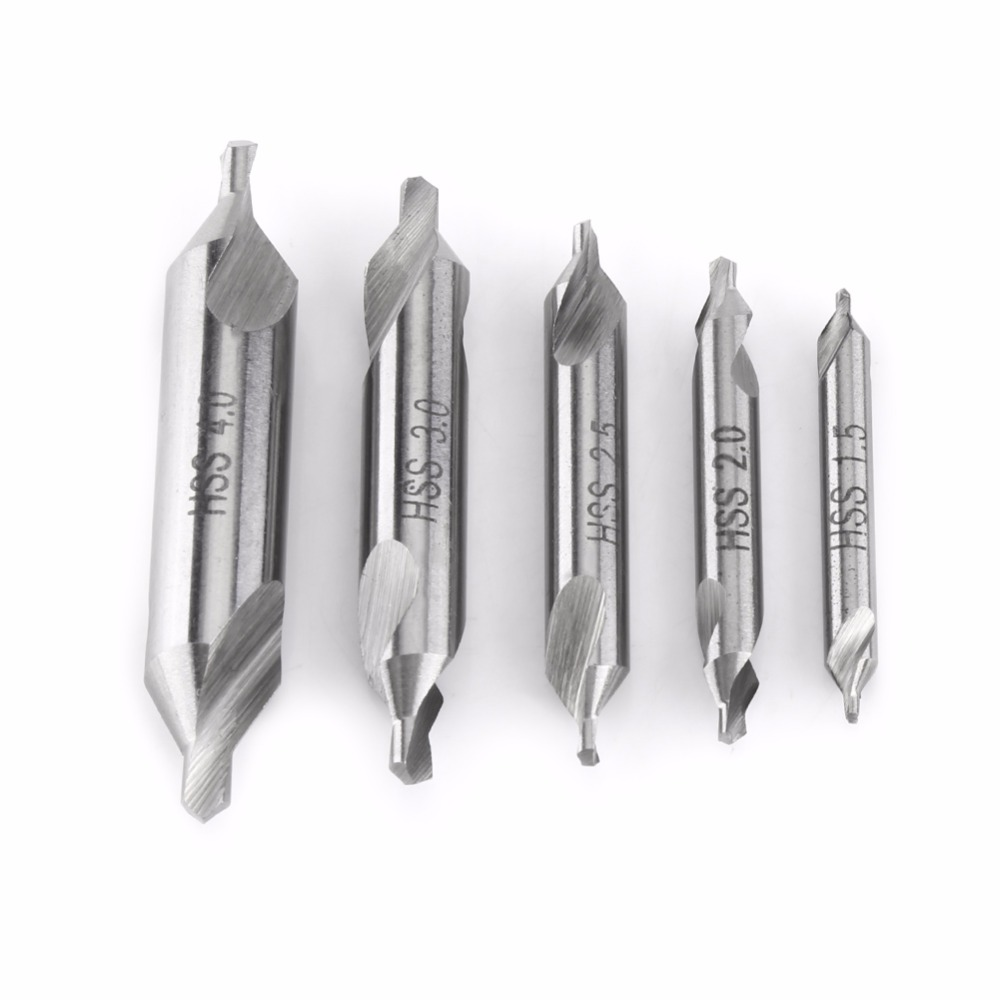 5pcs HSS Combined Center Drills Countersinks 60 Degree Angle Bit Set Tool 1.5mm 2mm 2.5mm 3mm 4mm Drill Bit set Lathe Machine hot hss combined center drills countersinks 60 degree angle bit set tool metric 3 0mm