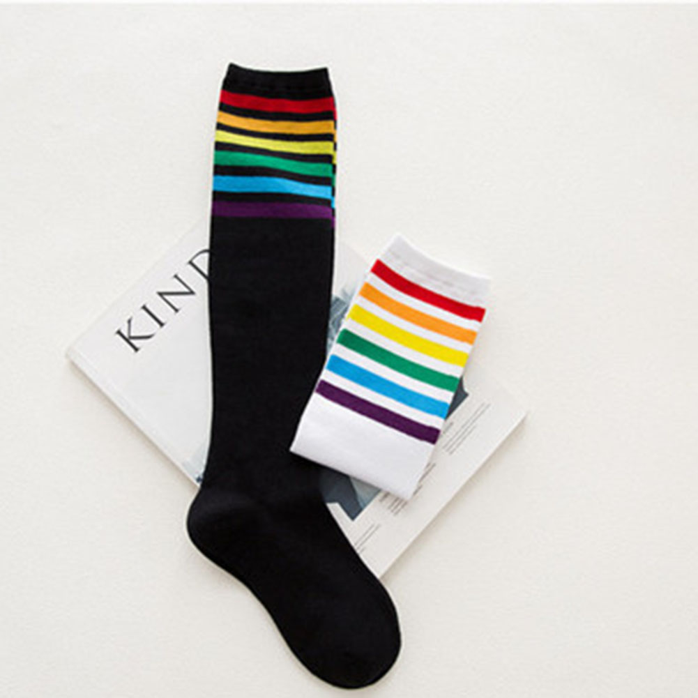 Autumn And Winter Boutique Cotton Middle Tube socks for women Japanese cotton rainbow high-barrel female socks