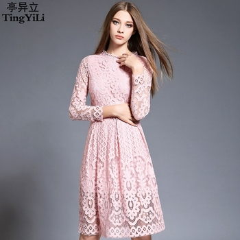 TingYiLi Pink Red Black White Lace Dress Spring Summer Elegant Ladies Office Dress Long Sleeve Hollow Out Sexy Midi Dress Women elegancka sukienka długi rękaw