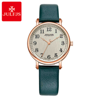 New Girl Leather Strap Round Japan Quartz Watch Students School Time Hour Fashion Luxury Quality Women's Watches Julius Clock
