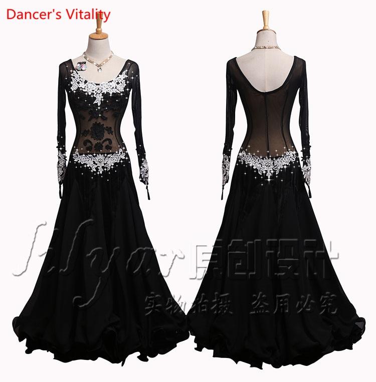 Senior Embroidery Ballroom Dance Dress Women Waltz Tango Dance Performance Clothes Elastic Force Gauze Lace Big