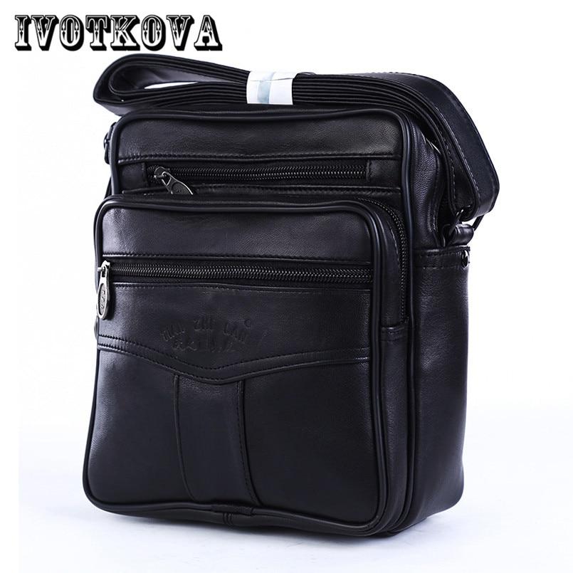 IVOTKOVA 2017 Men Bags Ipad Handbags Sheepskin Leather Male Messenger Purse Man Crossbody Shoulder Bag Men's Travel Bags