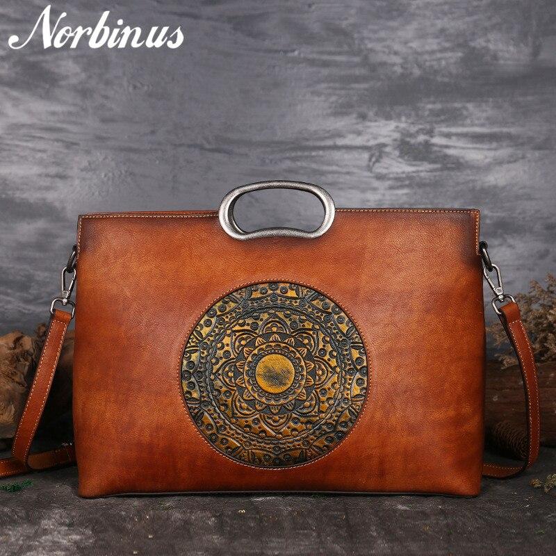 Norbinus Real Cow Leather Ladies Handbags Luxury Brand Women Genuine Leather Tote Big Capacity Manual Painting