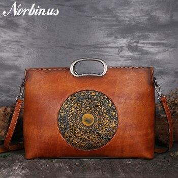 Norbinus Real Cow Leather Ladies Handbags Luxury Brand Women Genuine Leather Tote Big Capacity Manual Painting Shoulder Bags New