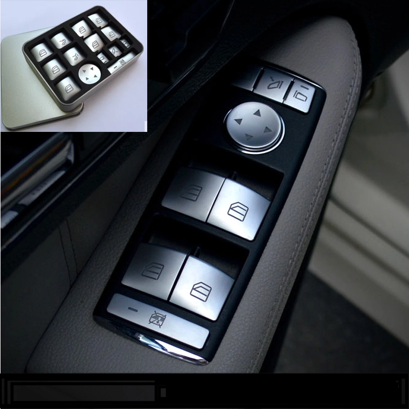 14pcs Car styling window glass lifter Button Trim Cover ABS sticker for Mercedes-Benz some year CLA/GLA/GLK/GLE/CLS/GL/ML/A/B/E for benz cla c117 w117 inner door window switch button cover 2014 2017 14pcs