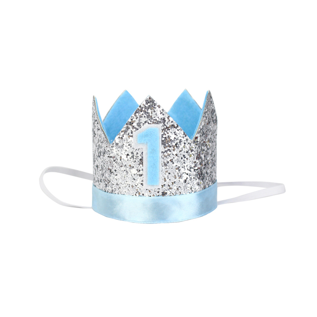 1st Birthday Hat Glitter First Crown Blue One Year Old Party Light Baby Boy Smash Cake Photo Prop