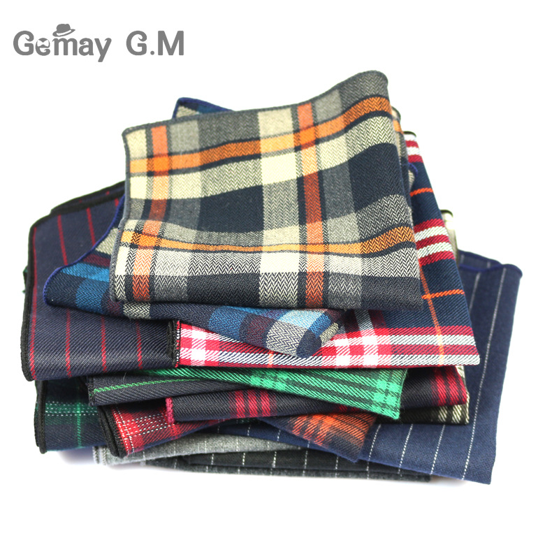 High Quality Cotton Mens Pocket Square Adult Plaid Hankerchief Scarves Vintage Hankies Men's Hanky Square Handkerchiefs