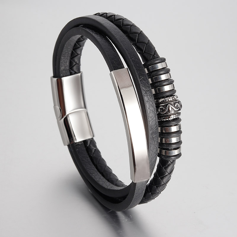 New Men Jewelry Genuine Multilayer Leather Bracelets Stainless Steel Magnetic Clasp Trendy Black Brown Rope Chain for Gifts nidin 2017 men jewelry brown genuine leather bracelets
