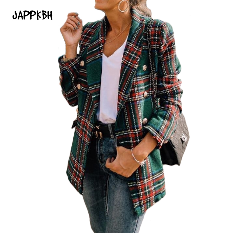 JAPPKBH New Vintage Plaid Tweed Jacket Women Spring Streetwear Double Breasted Pocket Jackets Long Sleeve Coat Veste Femme Modis