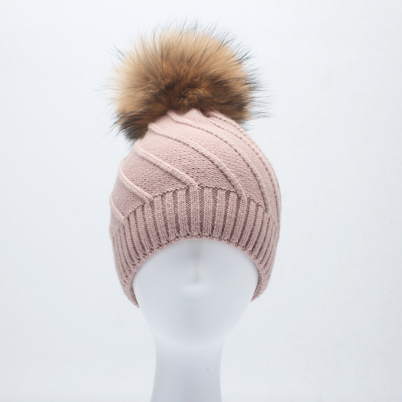 ROSELUOSI 2017 Winter Hats For Women Real Raccoon Pompoms Wool Knitted Beanies Hat Casual Solid Colors Thick Warm Gorras roseluosi 2017 thick warm winter hats for men letter embroidery knitted beanies women solid color knitted hat bone feminino