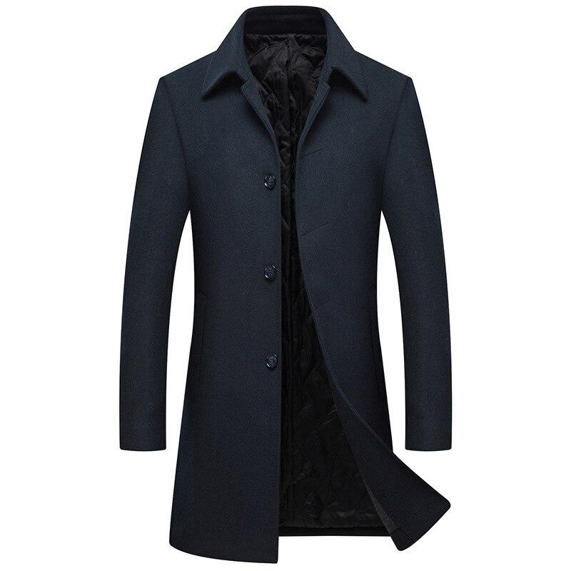 Manteau Coupe vent Pour long Solide Noir Pardessus Laine X M Abrigo bleu Tranchée De Veste Mâle Hommes Hombre 3xl Hiver xWCrdoBe