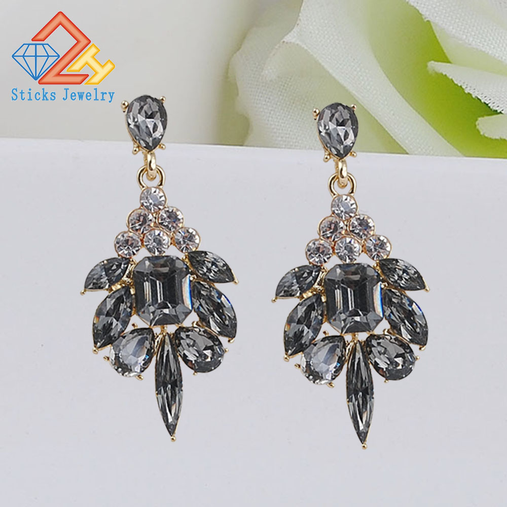 Brand Trendy Big Crystal Statement Earrings Wedding Drop Women Party Hanging Jewelry Wholesale