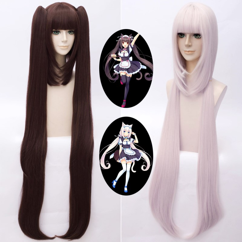 Game Nekopara Cosplay Wigs Chocolat and Vanilla Cosplay Wig Synthetic Hair Perucas Cosplay Wig + Wig Cap