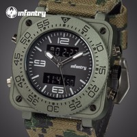 INFANTRY Men Camo Wristwatches Military Army 3ATM Water Resistant Sports Watches Backlight Dual Time Watches Alarm