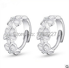 Top Quality 925 sterling silver Fashion Jewelry CZ Diamond Crystal Hoop Dangle Flower Buckle Earrings Ear Studs  Free Shipping