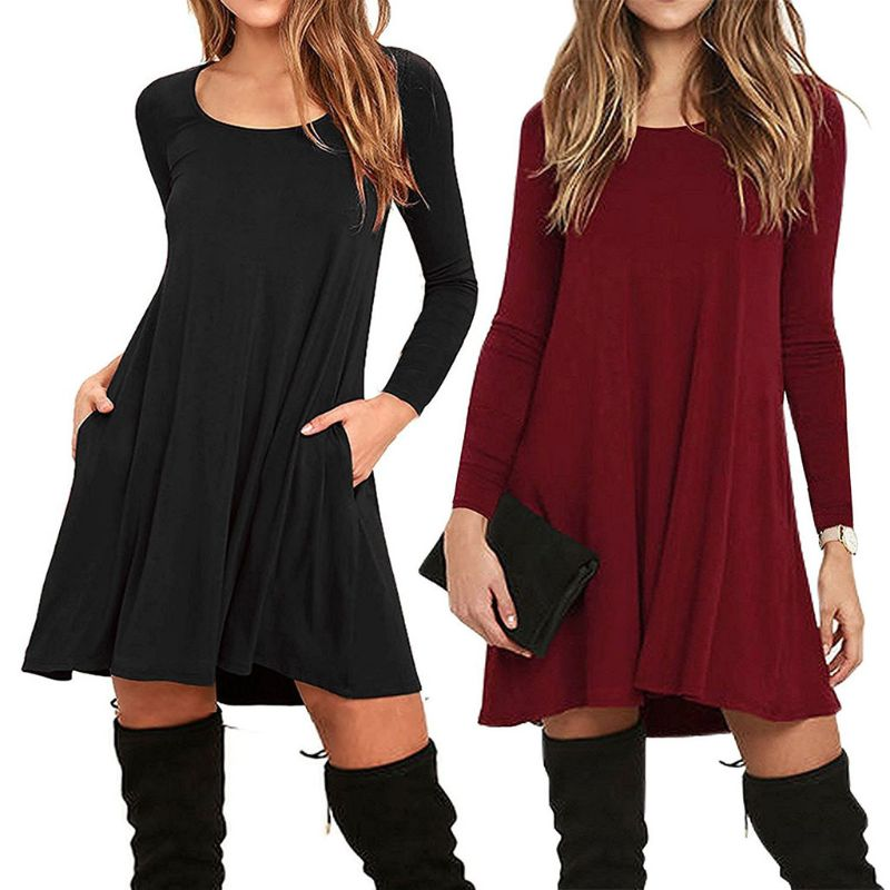 10be1a48d8d Womens Plus Size Autumn Winter Long Sleeve Basic Pleated T-Shirt D...