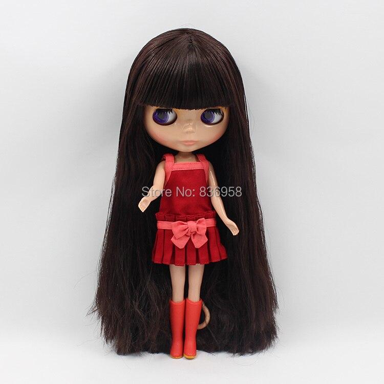 Фабрика Блит куклы Нормальный/Совместное тела загар кожи темно-коричневый волос BL0312 с челкой/бахромой 1/6 30 см