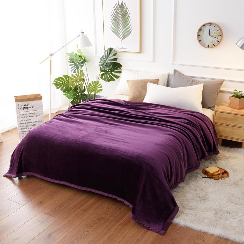 Soft Warm Fluffy Thicken Flannel Blanket Solid Purple Grey Blue Faux Fur Fleece Throw 400gsm Fuzzy