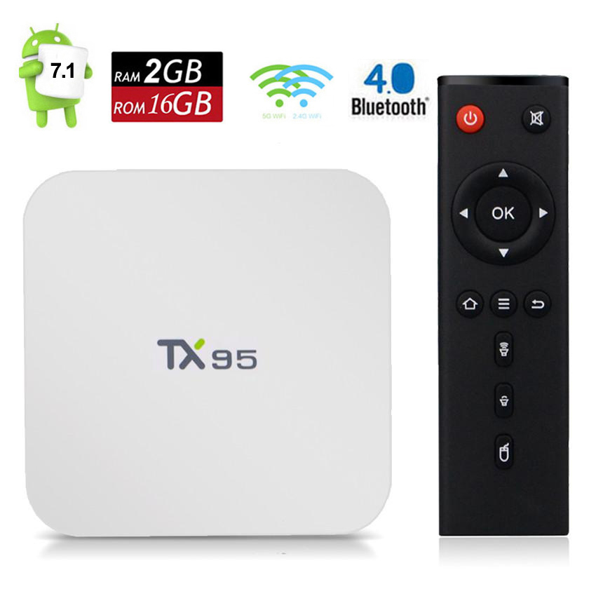 TX95 Smart TV Box Android 7 1 2GB 16GB Amlogic S905W Quad Core Dual Band Wifi