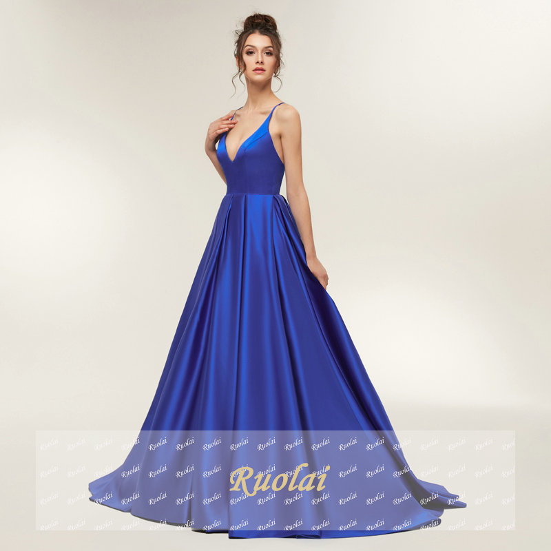 Royal Blue Sexy Prom Dresses 2019 Long Girl Satin Spaghetti Strap Party Dresses Long Open Back Evening Dress Robe De Soiree