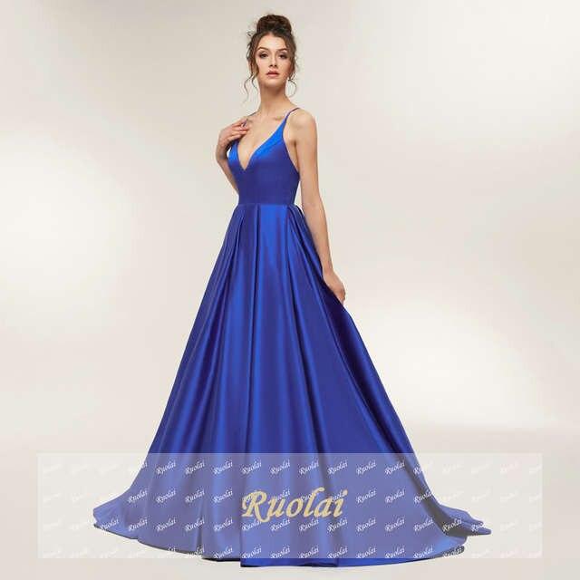placeholder Royal Blue Sexy Prom Dresses 2019 Long Girl Satin Spaghetti  Strap Party Dresses Long Open Back 3d440e34b