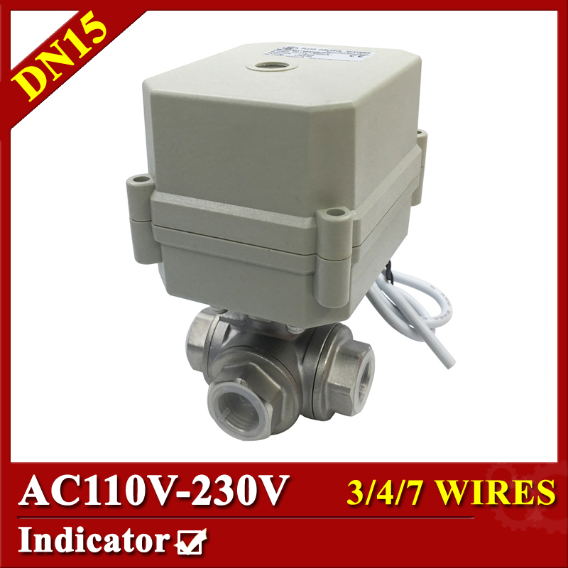 Tsai Fan Electric ball valve 1/2 DN15 T port 3 way 3/4/7 wires AC110V to 230V BSP/NPT electric valve with signal feedback 1 2 ss304 electric ball valve 2 port 110v to 230v motorized valve 5 wires dn15 electric valve with position feedback
