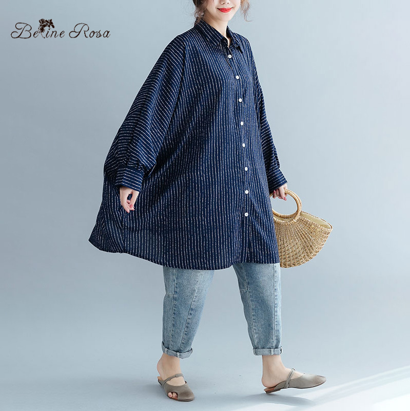 BelineRosa Plus Size Blouse European Fashion Batwing Super Tops Striped Blouse in Big Size 150kg Oversized Clothes JJDM0058 in Blouses amp Shirts from Women 39 s Clothing